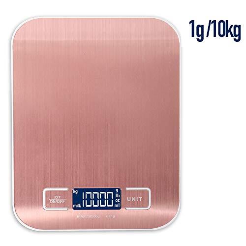 Bilancia digitale LCD da cucina elettronica da 1 - 10 kg per la bilancia da cucina per scoprire il verde protettivo (oro rosa)