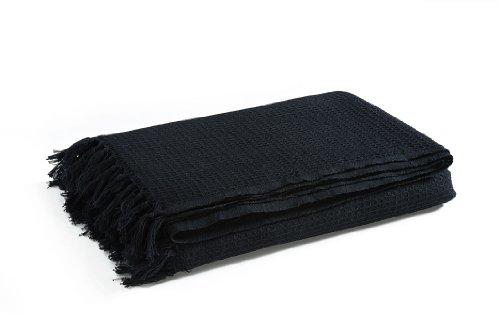 EliteHomeCollection - Colcha (254 x 380cm, 100% algodón), Color Negro