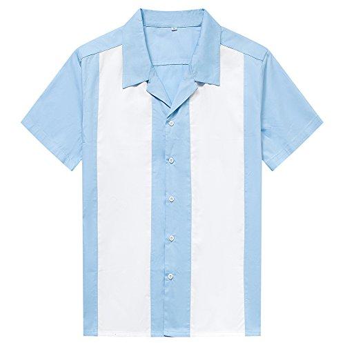 Anchor MSJ Herren 50er Jahre Männliche Kleidung Rockabilly Stil Baumwolle Herren Hemden Kurzarm Fifties Bowling Casual Button-Down Shirts - Blau - X-Groß