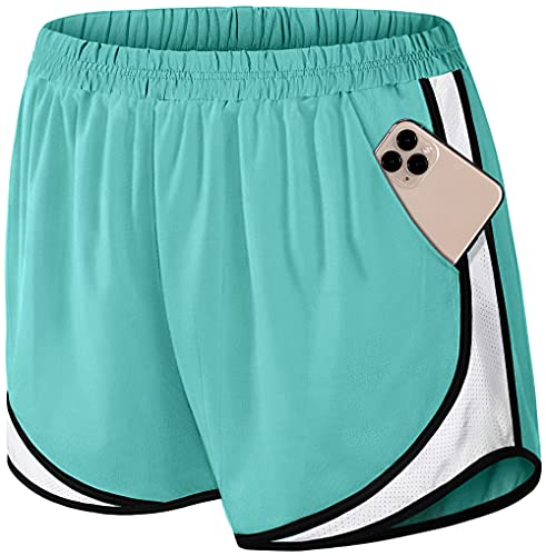 Fulbelle Althetic Shorts for Women, Breathable Knit Jersey Summer Workout Sports Clothes Running Gear with Elastic Waistband Built in Brief Mesh Panel Side Pockets Teal S