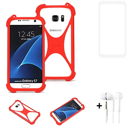 K-S-Trade® Handyhülle + Kopfhörer Für Vestel V3 5580 Dual-SIM Schutzhülle Bumper Silikon Schutz Hülle Cover Case Silikoncase Silikonbumper TPU Softcase Smartphone, Rot (1x),