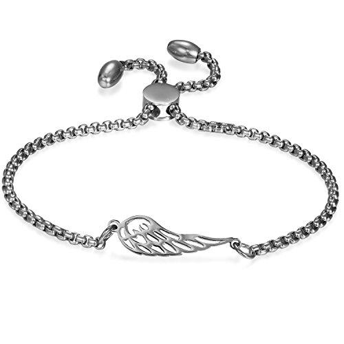 JewelryWe Schmuck Damen Armband mit Engels Flügel Engelsflüge?Edelstahl Charm-Armband Armkette Verstellbar Armkettchen Armreif, Silber