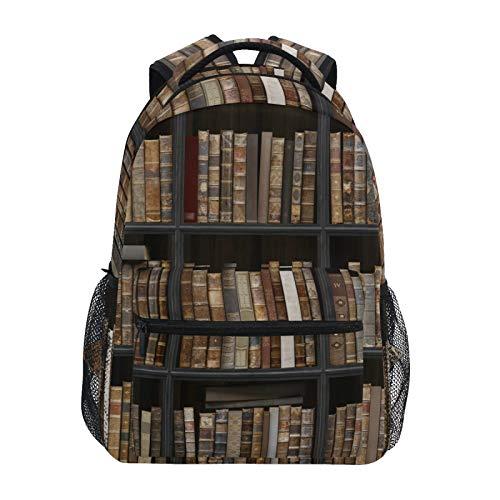 RELEESSS Mochila escolar vieja estantería escolar mochila ligera para portátil para niños y niñas, unisex