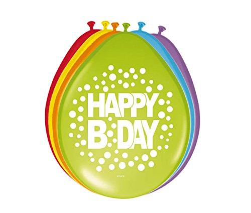 Party Collection Lote DE 16 Globos Motivo Happy B Day Cumpleaños Fiesta Surtidos Colores Arcoiris Lunares