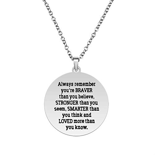 Always Remember You Are Braver Than You Believe Pendant Necklace, Inspirational Jewelry Gift for Women Teen Girls, Birthday Gifts for Sister Friends Daughter, Stainless Steel, 18''