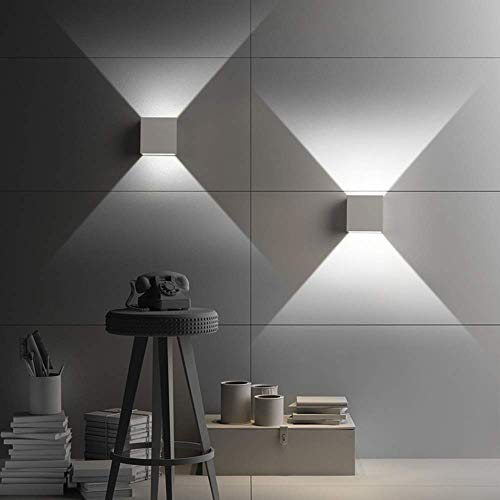 LED Wandleuchten 6000K 12W 2er Pack Modern High Bright Kaltweiss Wandlampe Mit Einstellbar Abstrahlwinkel LED Wandbeleuchtung IP65 Innen/Außen(Weiß)