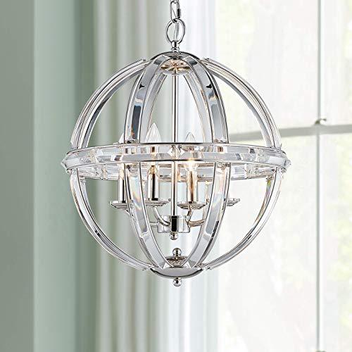 Bestier Chrome Modern Pendant Chandelier Crystal Lighting Ceiling Light Fixture Lamp for Dining Room Bathroom Bedroom Livingroom entryway 4 E12 Bulbs Required D15.7 in x H17.9 in