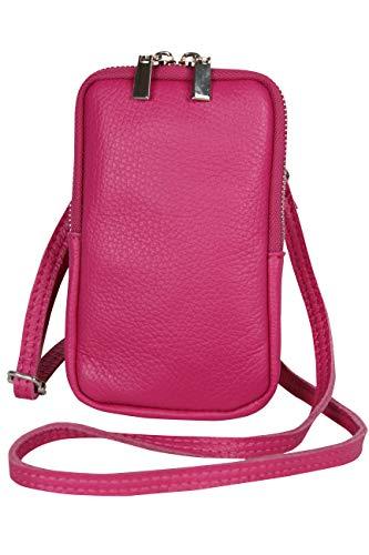 AmbraModa GLX17 - bolso de bandolera, bolso para celular, bolso de piel genuina con bandolera extraíble y ajustable, apto para teléfonos móviles de hasta 6.5 pulgadas. (fucsia)