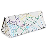 2 Pack Foldable Eyeglass Cases for Women & Girls, Pretty Triangle Glasses Case, Magnetic Sunglasses Case, Cute Spider Pattern, Purple & White