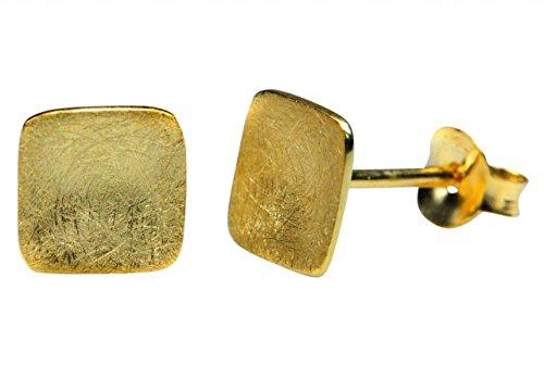 SILBERMOOS Damen Ohrstecker Quadrat Viereck klein vergoldet gebürstet Sterling Silber 925 Ohrringe
