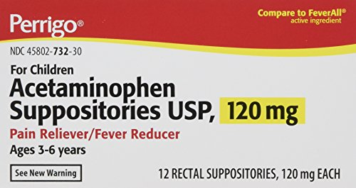 Acetaminophen Rectal Suppositories Generic for Tylenol Suppositories,FeverAll Children's 120 mg 12 ea per Box 2 Pack Total 24 ea