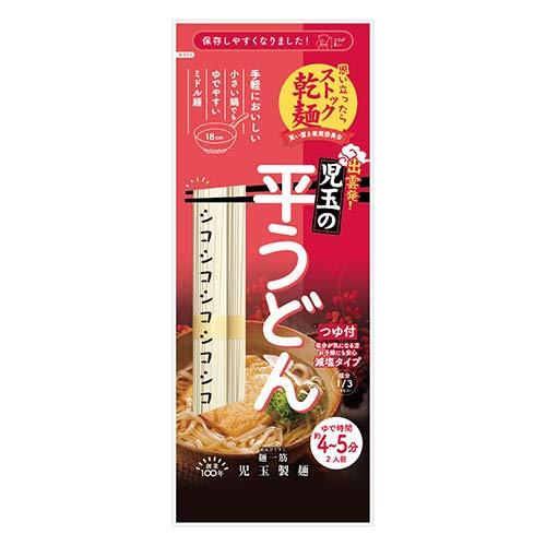 児玉製麺 ストック乾麺 児玉の平うどん つゆ付 244g(めん200g) 30コ入り おかしのマーチ