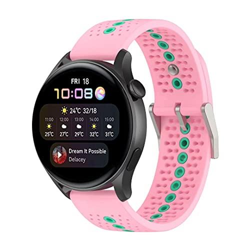 Correa de repuesto de silicona compatible con Huawei Watch 3/Watch 3 Pro, transpirable a prueba de sudor correa de reloj deportivo compatible con Huawei Watch Gt2 Pro,