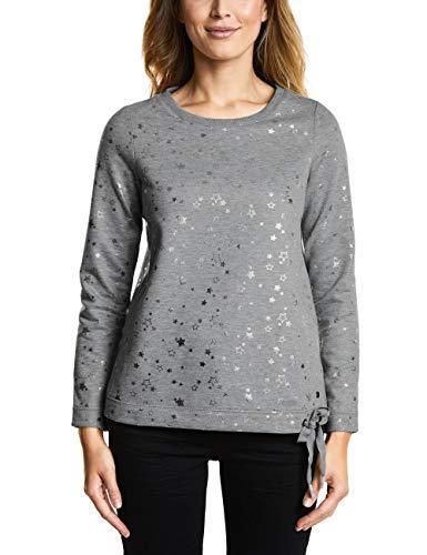 Cecil Damen 300752 Sweatshirt, Mehrfarbig (Mineral Grey Melange 20327), X-Small (Herstellergröße: XS)
