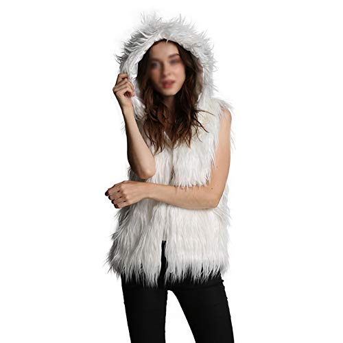 JstDoit Dames Hooded Warm Faux Fur Vest Plus Mate, Faux Fur Gilets voor Herfst Winter Draag Roze Zwart en Wit (M - 4XL)