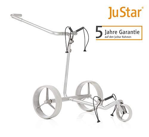 JuStar Carbon Light, Elektro Golftrolley Golfcaddy, Titansilber lackiert, leichter Vollcarbon-Rahmen