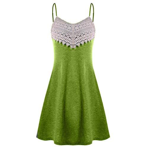 VJGOAL Vestido sin Mangas sin Mangas de la Mini Camisola del resbalón del cordón de Crochet del V-Cuello de la Moda de Las Mujeres (2XL, Verde del ejército)