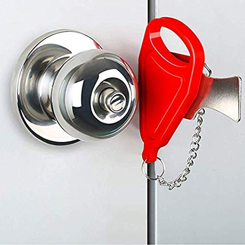 Portable Door Lock Travel Lock Solid Heavy Duty Lock for for Traveling, AirBNB, Hotel, Home, Apartment, School Security