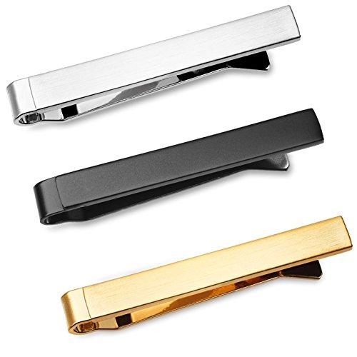 3-er Packung Dünn Skinny Krawattenklammer / Krawattennadel 4 cm Silber, Goldfarben, Schwarz Für Schmale Krawatte im Geschenketui, Geschenkset