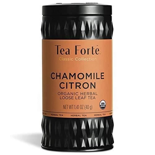 Tea Forte Organic Herbal Tea, Makes 35-50 Cups, 1.41 Ounce Loose Leaf Tea Canister, Chamomile Citron