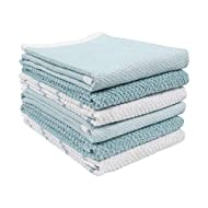 KAF Home Ayesha Curry Mixed Utility Kitchen Towel Set | Set of 6 Mixed Terry Kitchen Towels | Absorbent Kitchen Towels Perfect for Spills, Drying Dishes, Cooking, and Any Household Mess - Aqua