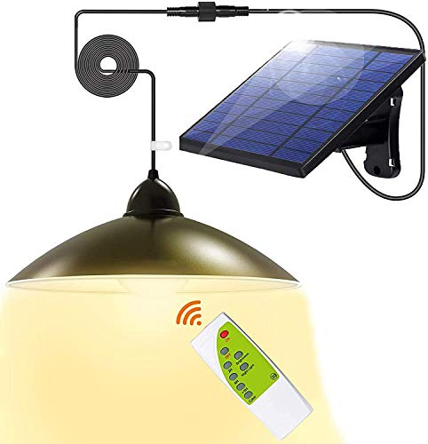 Solar Lights Outdoor Super-Bright LEDs Security - Upgrade 3 Color Solar Powered Lights,IP65 Waterproof Remote Control Shed Lights Pendant Light with Adjustable Solar Panel for Outdoor/Indoor Lighting