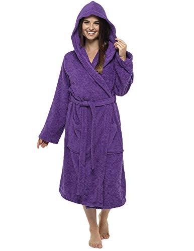 CityComfort Señoras Robe Luxury Terry Toweling algodón bata albornoz Mujeres altamente absorbente mujeres con capucha y Shawl Towel baño abrigo (L, Morado oscuro)