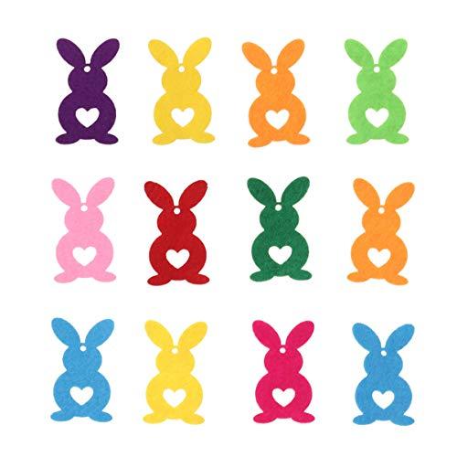 ABOOFAN 12 Piezas de Adornos de Fieltro de Pascua Pegatinas con Forma de Conejo Tela de Conejo Aplique de Scrapbooking Tela para Coser Arte para Pascua Jardín de Infantes Decoración de