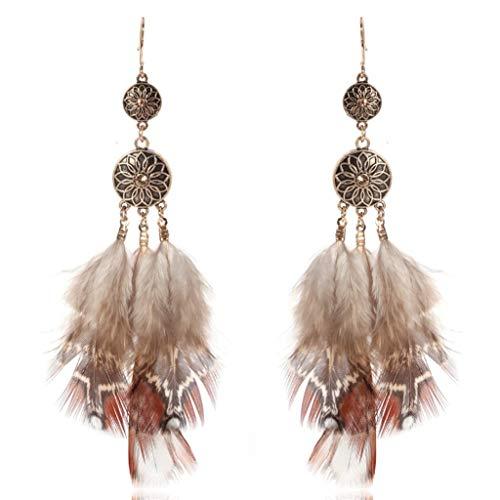 Pendientes de plumas T.Hoow exagerados redondos de aleación, plumas marrones