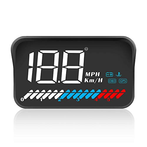 ACECAR Head Up Display Car Universal Dual System 3.5 Inches HUD, Speedometer OBD2 GPS Interface, Speed, Engine RPM, OverSpeed Warning, Mileage Measurement, Water Temperature, for All Vehicle