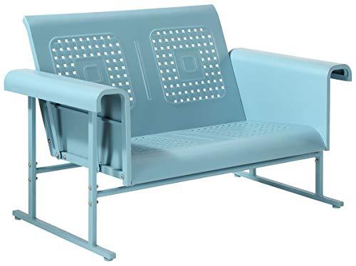 Crosley Furniture CO1027-BL Veranda Retro Outdoor Metal Loveseat Glider, Caribbean Blue