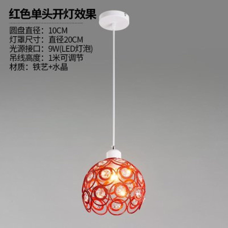 BESPD Restaurant Licht Kristallleuchtern einzelne Studie Lounge Einzelne Scheinwerfer Gang Deckenlampe Eisen Lampen 20 cm rot Single Head +9 Wled-Lampe