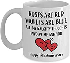 12th Anniversary Gifts for Her Him 12 Year - Roses Are Red Violets Are Blue Coffee Mug - Happy Wedding Women Men Wife Husband Parents Couple