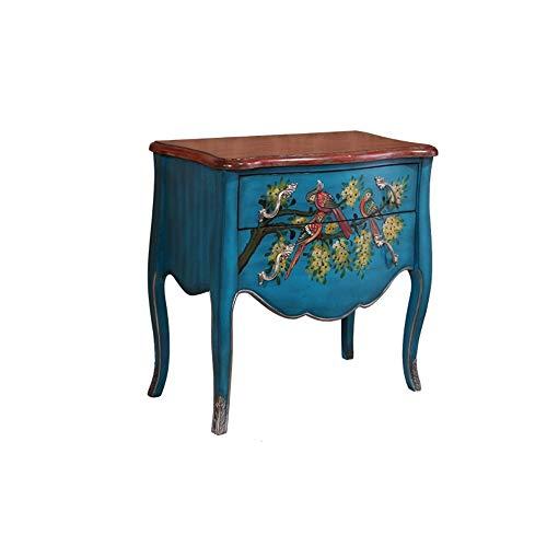 Zhengowen Commode Cabinet à Deux tiroirs Peints en Bois Massif Chambre multitiroirs entrée Cabinet Retro tiroirs Armoire de Rangement Retro Industrial Enfilade (Couleur : Bleu, Size : 69x37x80cm)
