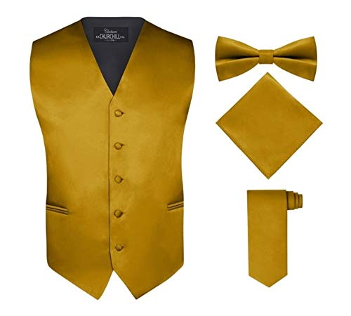S.H. Churchill & Co. Men's 4 Piece Vest Set, with Bow Tie, Neck Tie & Pocket Hankie - Gold, 4XL