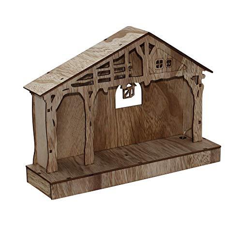 ARTECSIS Weihnachtskrippe beleuchtet I Kleine Krippe aus Holz 26,5 x 19cm I Holzkrippe Krippenstall als Weihnachtsdeko