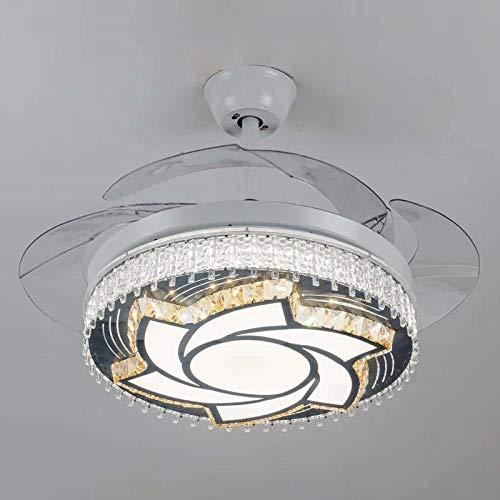 Luz de techo de cristal LED Luz de ventilador Dormitorio Sala de estar Comedor Araña de luces Luz de ventilador de techo invisible Luz de ventilador D