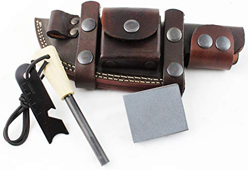 Moorhaus Handcrafted Leather Knife Sheath for Tracker, Bushcraft/skinner Knife, Utility Pouch, Ferro Rod Loop, Horizontal Right or Left handed Scout Style