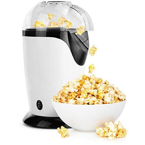 NLYWB Heißluft-Popper-Popcorn, 1200 W Popcorn-Maschine, elektrische Popcorn-Maschine mit abnehmbarem Deckel für den Heimgebrauch, kein Öl erforderlich, ideal für Kinder, weiß