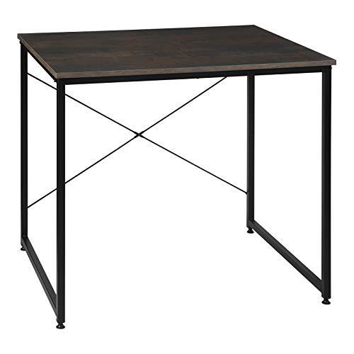 WOLTU Escritorio de Computadora Muebles de Oficina Mesa de PC Mesa de Oficina de Madera y Acero, con Estante Color óxido + Negro TSB03srs