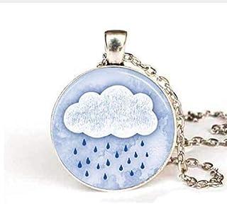 Rain Cloud Necklace Vintage Rainy Day Spring Showers Photo Glass Pendant Art Necklace Women Men Jewelry