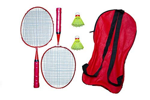 Xcube Badminton Racket for Kids - Baby Badminton Aluminium Toy Set for Children with Multicolour Shuttlecocks and Backpack (Red)