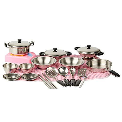 Batop Kinderküche Geschirr Set, 20 Stück Edelstahl Kochutensilien Set Küchenspielzeug für Kinder, mit Hoher Suppentopf, Reisschale, Wok usw