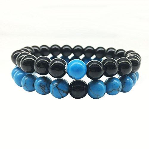 Gemini_mall® Bracelets de distance élastiques solides pour couple et elle (noir + bleu)