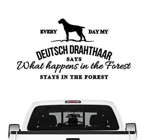 Siviwonder Deutsch Drahthaar Aufkleber Vintage Hundeaufkleber Folie DD Deutscher Drahthaar Farbe Schwarz, Größe 45cm