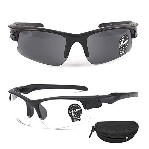 QHIU Occhiali tattici Anti-Explosion Protettivi UV Goggles per Occhiali da Avventura Viaggio Guida Ciclismo Moto Outdoor Sport all'aria aperta Uomo Donna Unisex (2PCS)