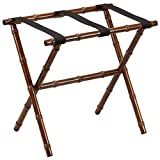 Bamboo Luggage Rack with 3 Nylon Straps Dk. Walnut