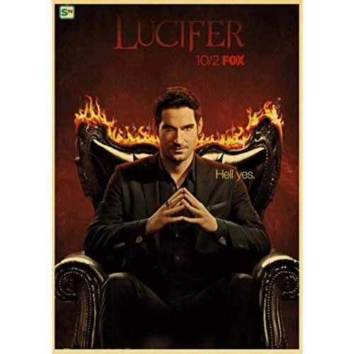shuimanjinshan Vintage Poster Ameican TV Lucifer Retro Poster Wall Stickers For Home/Room/Bar Cafe Decor Painting 40x50cm No Frame HZ-1681