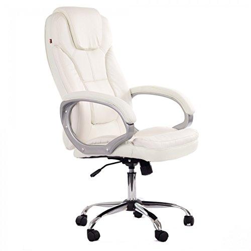 MY SIT Bürostuhl Chefsessel Kunstleder Weiß Design Milano Deluxe mit Armlehnen