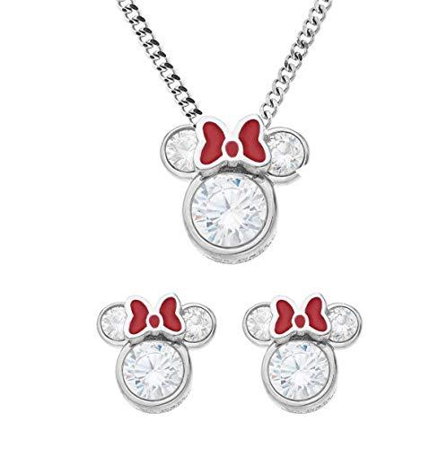juego de collar de cristal para mujer con lazo rojo brillante y circonita cúbica de plata de ley con colgante de Mickey Mouse y pendientes de tuerca, regalo para mujeres y niñas